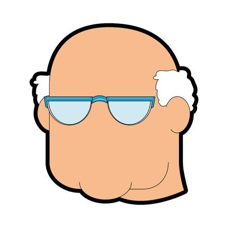할아버지 얼굴 아이콘 흰색 배경 벡터 일러스트 레이 션.