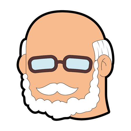 A grandfather face icon over white background vector illustration.
