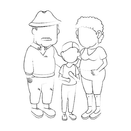 Couple of grandparents and kid icon over white background vector illustration Illustration