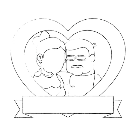 heart with cartoon couple of grandparents icon over white background vector illustration