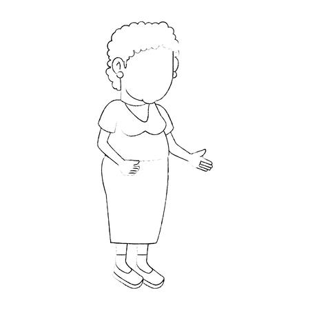 白背景ベクトル イラスト上のアバターの祖母アイコン  イラスト・ベクター素材