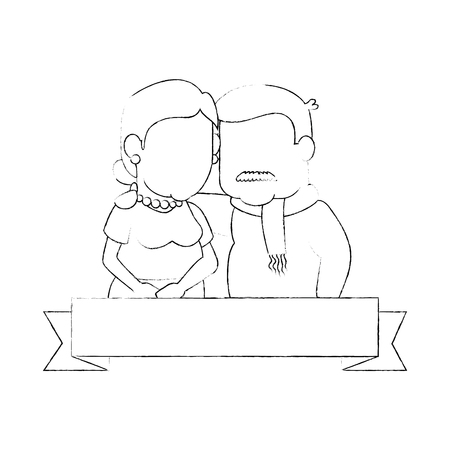 emblem with cartoon couple of grandparents and decorative ribbon icon over white background vector illustration