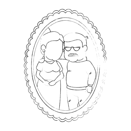 frame with cartoon couple of grandparents picture icon over white background vector illustration Illustration