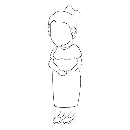 Icono de abuela avatar sobre fondo blanco ilustración vectorial Foto de archivo - 83252036