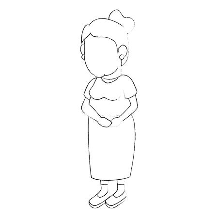 avatar grandmother icon over white background vector illustration Illustration