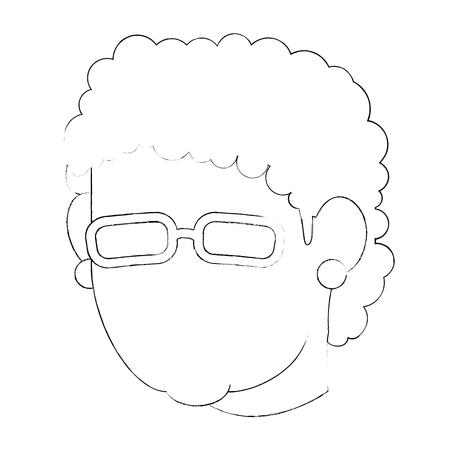 Icono de cara de abuela de avatar sobre fondo blanco ilustración vectorial Foto de archivo - 83253012