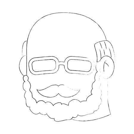 Abuelo cara icono sobre fondo blanco ilustración vectorial Foto de archivo - 83252159