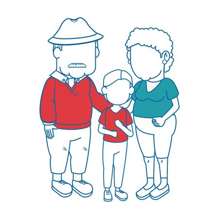 paar grootouders en kind pictogram over witte achtergrond kleurrijke ontwerp vectorillustratie