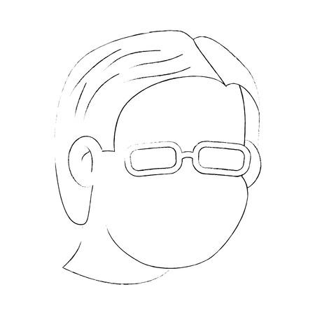 Abuelo cara icono sobre fondo blanco ilustración vectorial Foto de archivo - 83252608