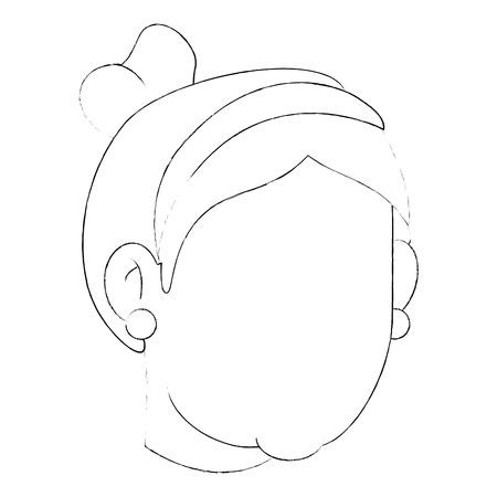 Avatar grandmother face icon over white background vector illustration Illusztráció