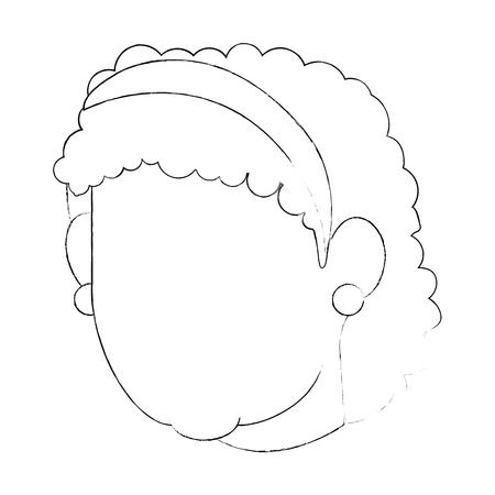 흰색 배경 벡터 일러스트 레이 션을 통해 아바타 할머니 얼굴 아이콘