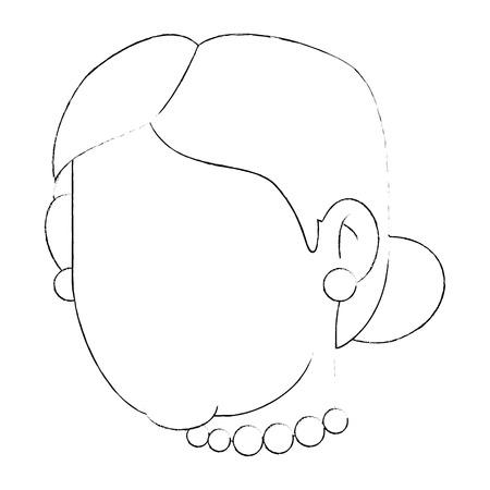 Avatar icono de la cara de abuela sobre fondo blanco ilustración vectorial Foto de archivo - 83252650