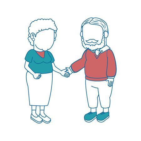 cartoon couple of grandparents icon over white background colorful design  vector illustration Illustration