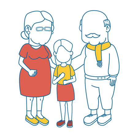 couple of grandparents and kid icon over white background colorful design vector illustration