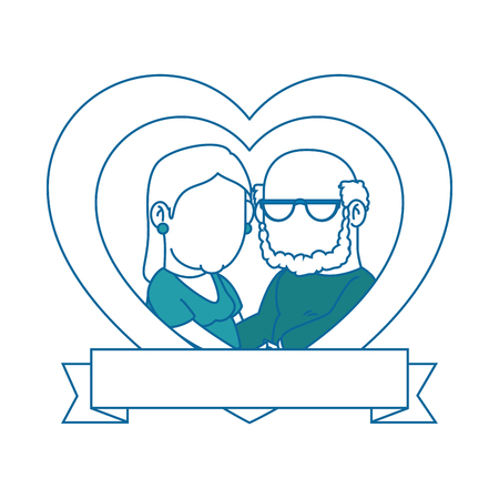 heart with cartoon couple of grandparents icon over white background colorful design vector illustration Illustration