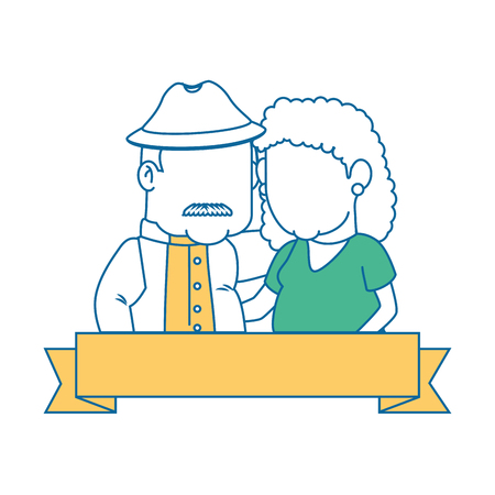 emblem with cartoon couple of grandparents and decorative ribbon icon over white background colorful design vector illustration