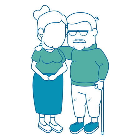cartoon couple of grandparents icon over white background colorful design  vector illustration Stock Photo