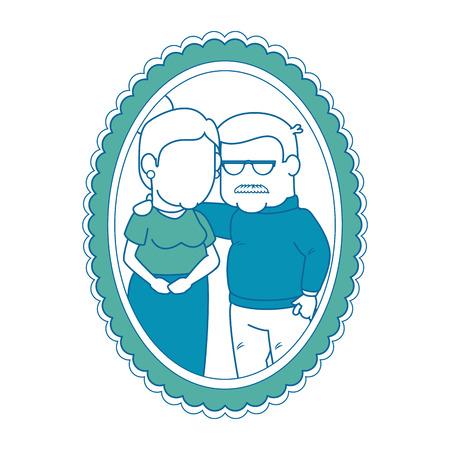 frame met cartoon paar grootouders foto pictogram over witte achtergrond kleurrijke ontwerp vectorillustratie Stockfoto