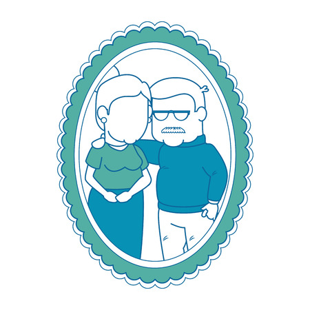 frame with cartoon couple of grandparents picture icon over white background colorful design vector illustration
