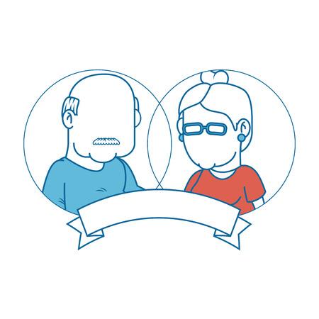 embleem met cartoon paar grootouders en decoratieve lint pictogram over witte achtergrond kleurrijke ontwerp vectorillustratie