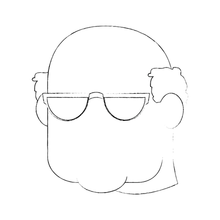 grandfather face icon over white background vector illustration