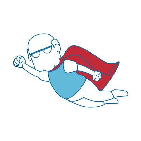 grandfather flying with cape of superhero icon over white background colorful design vector illustration