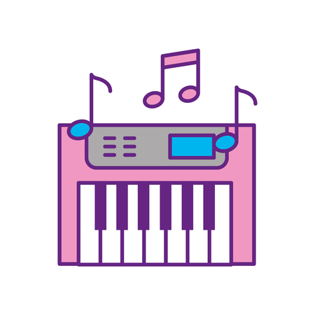 Synth console with notes vector illustration design Illustration
