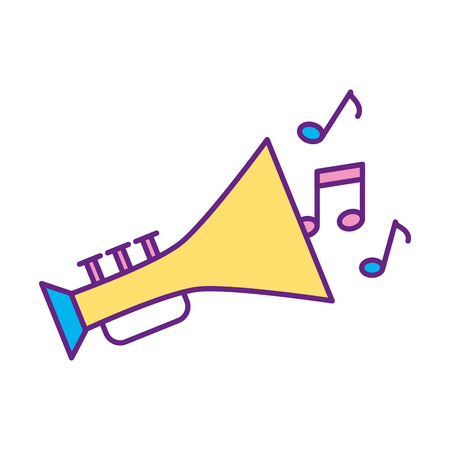 cornet: trumpet musical instrument with notes vector illustration design Illustration