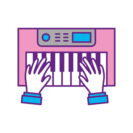 hands user with Synth console vector illustration design