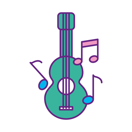 Chitarra acustica con note musicali illustrazione vettoriale di progettazione Archivio Fotografico - 83248330