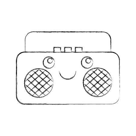 radio music player   character vector illustration design