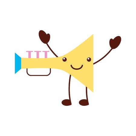 cornet: trumpet musical instrument  character vector illustration design
