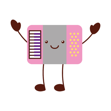 accordion musical instrument  character vector illustration design