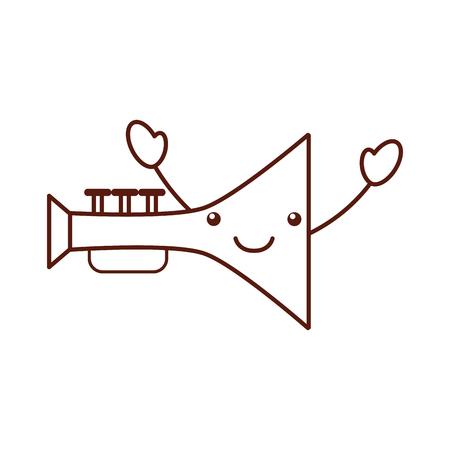 trumpet musical instrument   character vector illustration design