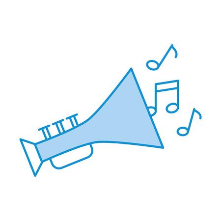 Trompeta instrumento musical con notas diseño de ilustración vectorial Foto de archivo - 83257524