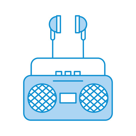 radio music player with earphones vector illustration design 向量圖像