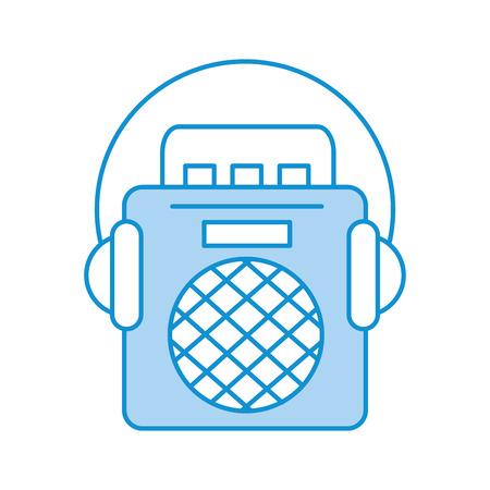 radio muziek speler met oortelefoons vector illustratie ontwerp