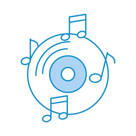 Vinyl alte Musik mit Notizen Vektor-Illustration Design Vektorgrafik