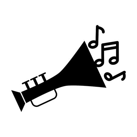 orchestral: trumpet musical instrument with notes vector illustration design Illustration