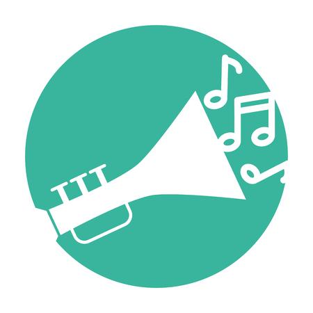 trumpet musical instrument with notes vector illustration design Illustration