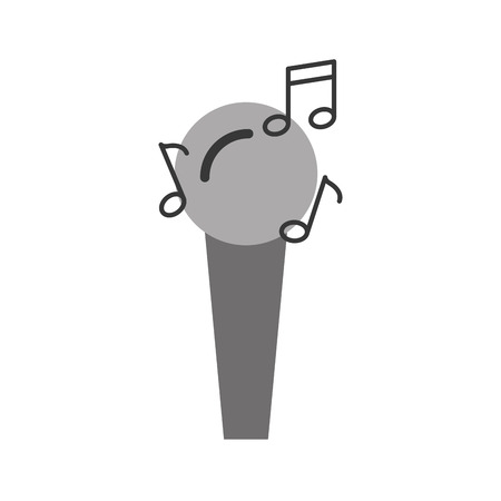 microphone audio with notes vector illustration design Çizim