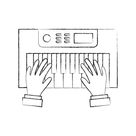 hands user with Synth console vector illustration design Reklamní fotografie - 83256822