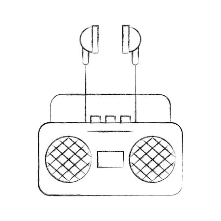 radio music player with earphones vector illustration design Illustration
