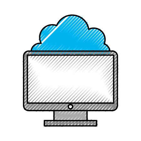 クラウドコンピューティングのベクトル イラスト デザインとコンピューターのデスクトップ 写真素材 - 83256372