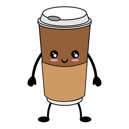koffie beker cartoon pictogram vector illustratie grafisch ontwerp