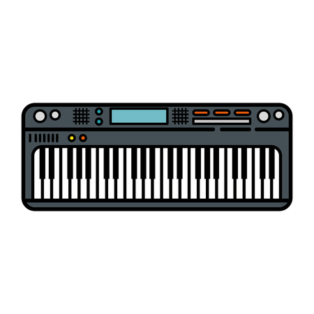 Piano keyboard modern instrument icon vector illustration graphic design Иллюстрация