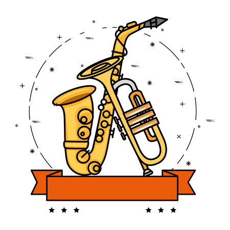 Music instrument emblem label icon vector illustration graphic design