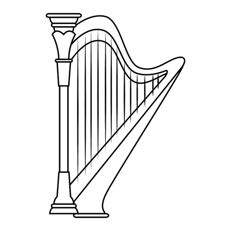 Harp music instrument icon vector illustration graphic design Ilustração