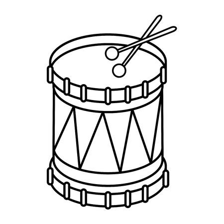 Tambor con el icono de la música del instrumento del palillo ilustración vectorial diseño gráfico Foto de archivo - 83261193