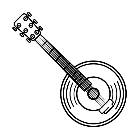 Guitar and vinyl music instrument icon vector illustration graphic design Çizim